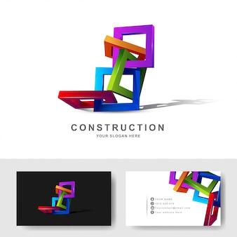 Bâtiments de construction ou modèle de conception de logo carré cadre 3d