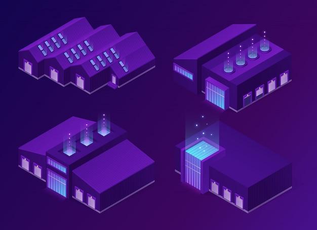 Bâtiments d'entrepôt logistique d'entrepôt isométrique