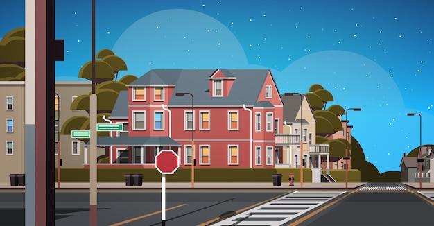 Les bâtiments de la façade de la ville vide aucun peuple rue urbaine immobilier nuit ville