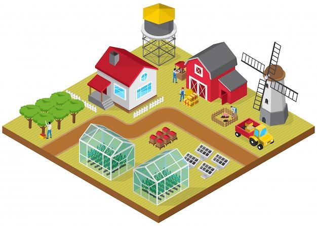 Bâtiments de ferme à la ferme installations d'élevage de bétail serres de tracteurs serres ruches ruches verger avec des ouvriers agricoles