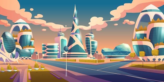 Bâtiments futuristes de la future ville avec façade en verre
