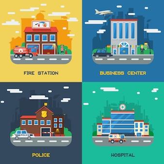 Bâtiments gouvernementaux 2x2 concept de design plat