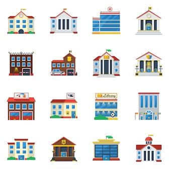 Bâtiments gouvernementaux plat couleur icon set