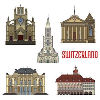 Bâtiments historiques de la suisse isolés sur blanc