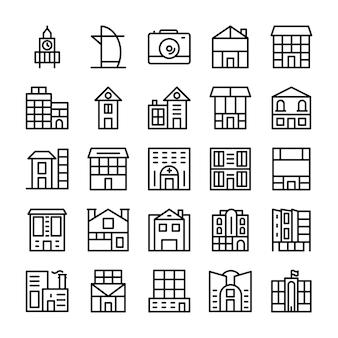 Bâtiments, icônes de ligne de repères