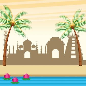 Bâtiments indiens palmiers et rivière