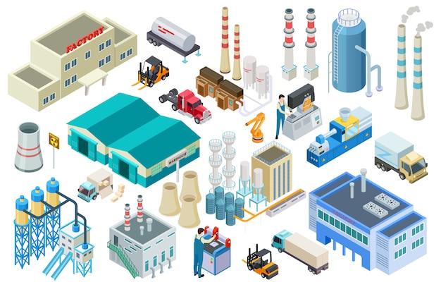 Bâtiments industriels isométriques, travailleurs, camions de livraison, collecte d'usine et d'entrepôt