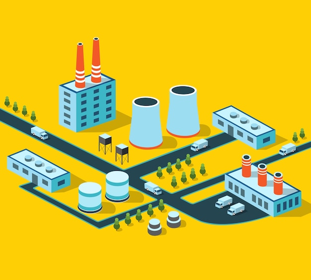 Bâtiments industriels, usines et chaudières en perspective
