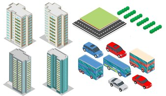 Bâtiments isométriques avec éléments, voitures, arbres et autoroutes