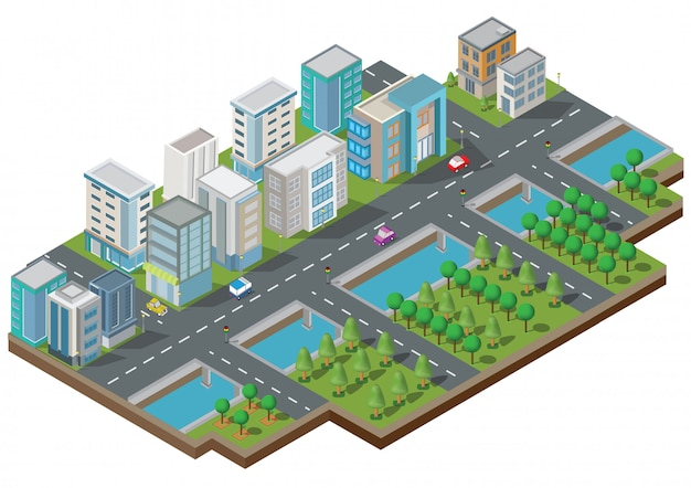 Bâtiments isométriques avec cour, rivière, route et arbres