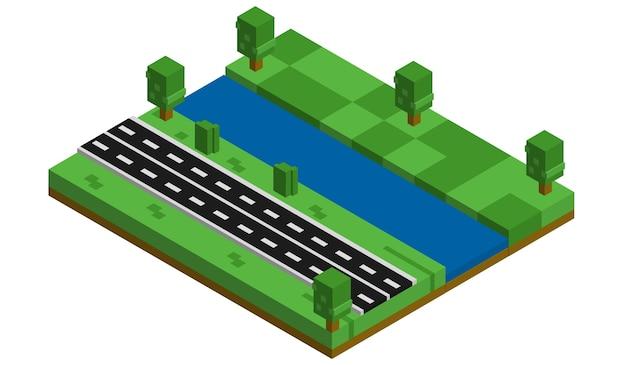 Bâtiments isométriques, parcs et rivières