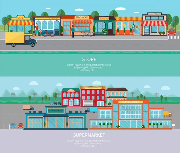 Bâtiments de magasin et supermarché avec jeu de bannières horizontales route et parking