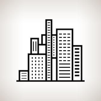 Bâtiments modernes de silhouette, centre d'affaires sur un fond clair, illustration de vecteur noir et blanc