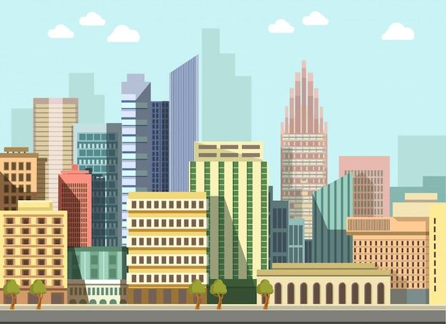 Bâtiments de panorama de jour plat vecteur ville paysage urbain moderne