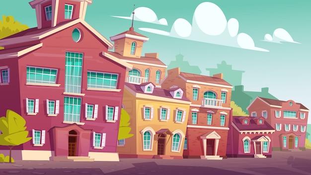 Bâtiments résidentiels rétro de paysage de rue urbaine
