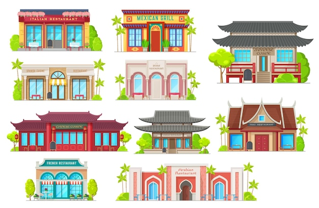 Bâtiments de restaurants de cuisine nationale. architecture traditionnelle, ensemble de maisons de café nationales