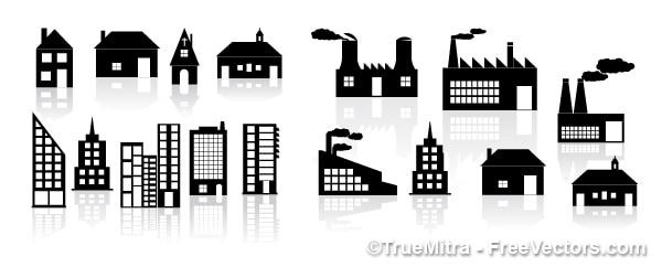 Bâtiments silhouettes. des maisons, des usines.