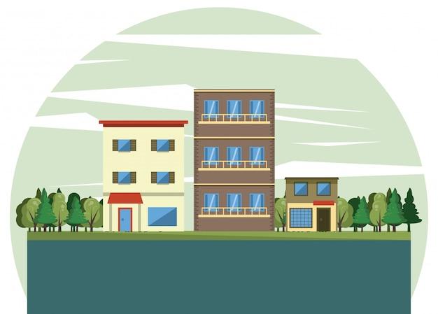 Bâtiments urbains avec paysage urbain
