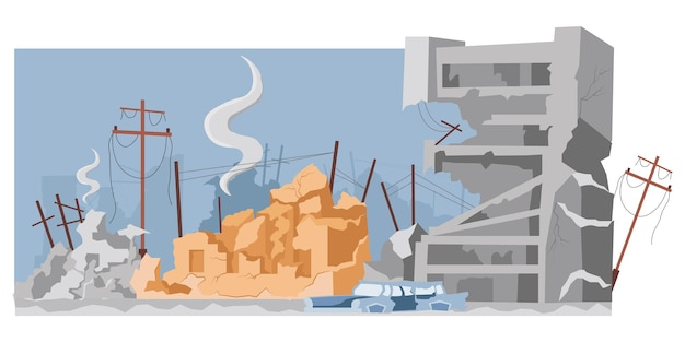 Bâtiments de la ville détruits après guerre ou tremblement de terre vector illustration plate