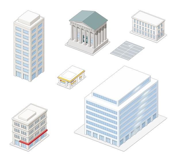 Bâtiments de la ville isométrique