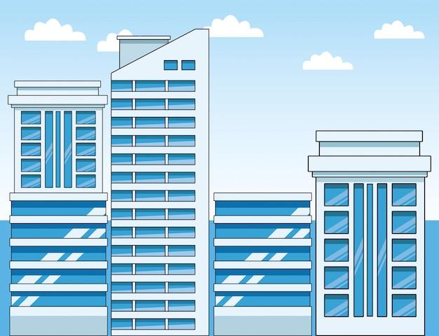 Bâtiments de la ville moderne sur bleu ciel