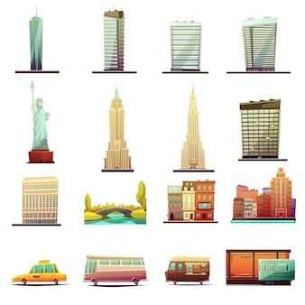 Les bâtiments de la ville de new york repèrent les attractions touristiques et les éléments de transport