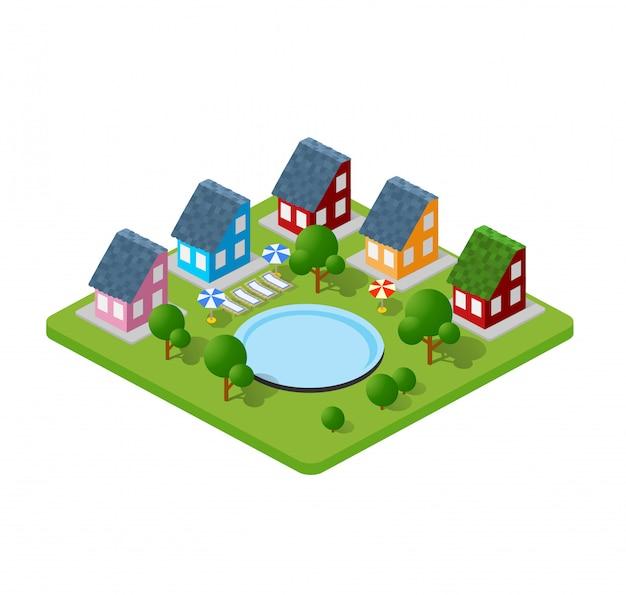 Bâtiments de ville en trois dimensions, maisons de ville