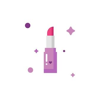Bâton à lèvres rouge mignon isolé composent la collection de jeu d'icônes