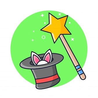 Bâton magique et chapeau avec lapin