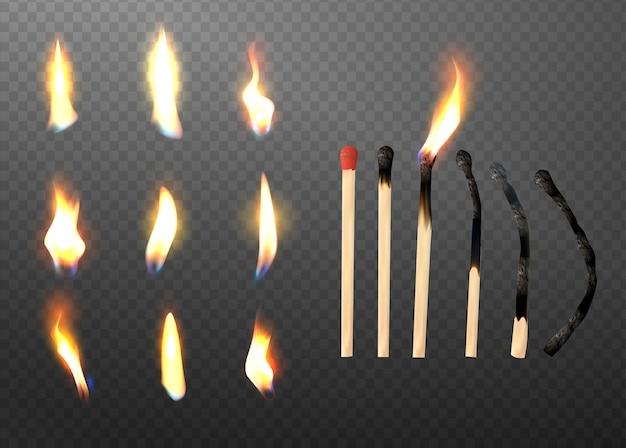 Bâton de match 3d réaliste et jeu d'icônes de flamme différente.
