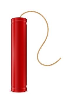 Bâton rouge de dynamite avec l'illustration de fusible de bickford d'isolement sur le blanc