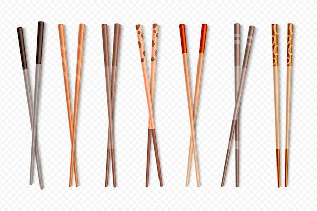 Bâtonnets de sushi en bambou asiatique pour la cuisine chinoise et japonaise