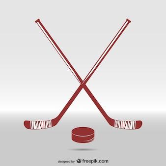 Bâtons de hockey et une rondelle