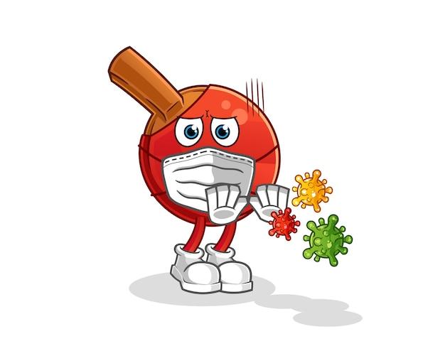 La batte de tennis de table refuse le dessin animé de virus. mascotte de dessin animé