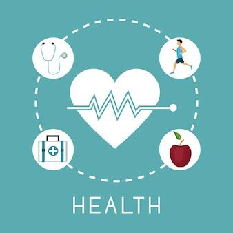 Battement de coeur avec des icônes dans le cadre circulaire des éléments sains