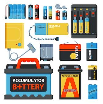 Batterie accumulatrice d'économie d'énergie outils électricité charge carburant alimentation positive et composant de batterie jetable technologie alcaline industrie illustration accumulative.
