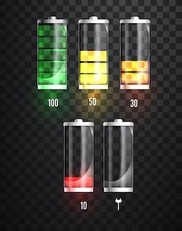 Batterie en charge. indicateur d'état de charge de la batterie.