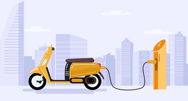 Batterie De Chargement De Scooter électrique. Vecteur Premium