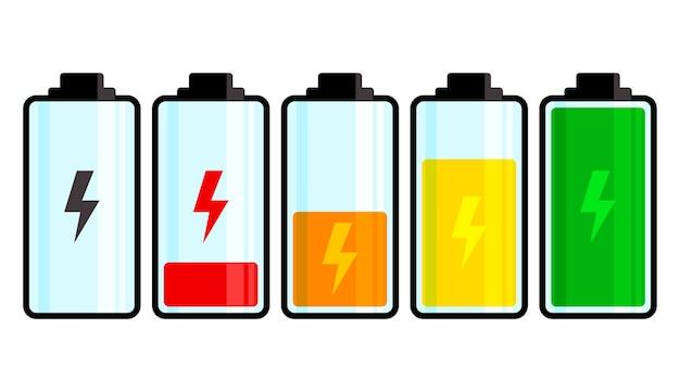 Batterie colorée isolée sur fond blanc. niveau de charge. illustration