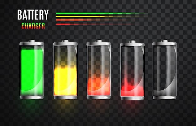 Batterie entièrement chargée et déchargée. état de charge de la batterie. processus de charge.