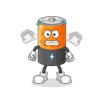 Batterie mascotte très en colère. dessin animé