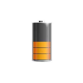 Batterie à moitié chargée avec niveau d'énergie