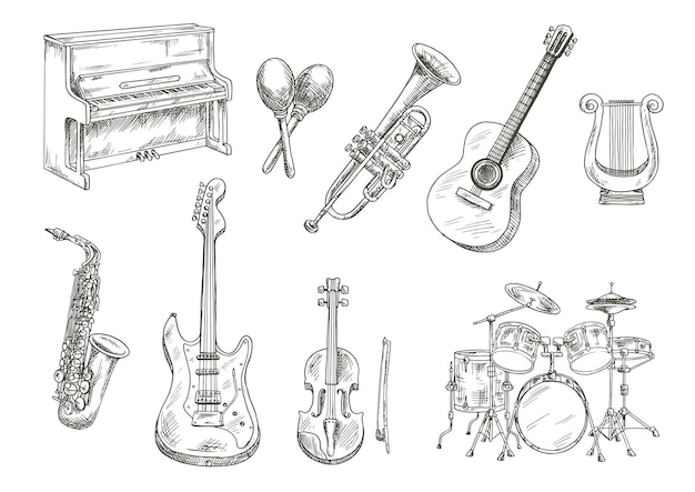 Batterie et piano, saxophone, guitares acoustiques et électriques, violon et trompette, lyre grecque ancienne et croquis de gravure de maracas en bois