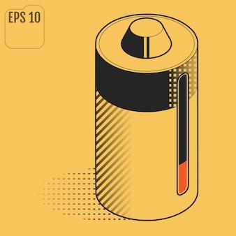 Batterie rechargeable. batterie environnementale. design plat isométrique