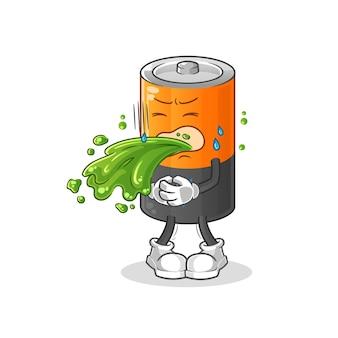 Batterie vomir la bande dessinée. mascotte de dessin animé