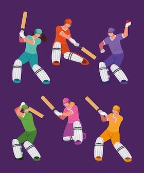 Battes de casque de cricket de joueurs de sport