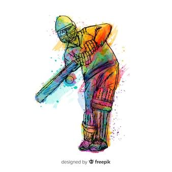Batteur jouant au cricket dans un style aquarelle