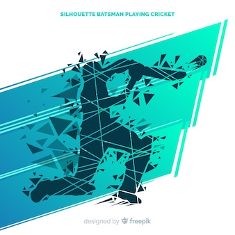 Batteur silhouette abstraite jouant au cricket