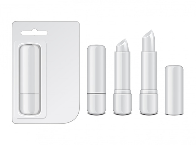 Baume à lèvres blanc brillant fermé et ouvert, rouge à lèvres hygiénique réaliste avec emballage en carton. ensemble de modèle de conception vierge