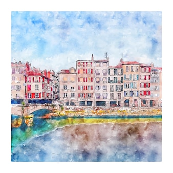 Bayonne france aquarelle croquis illustration dessinée à la main